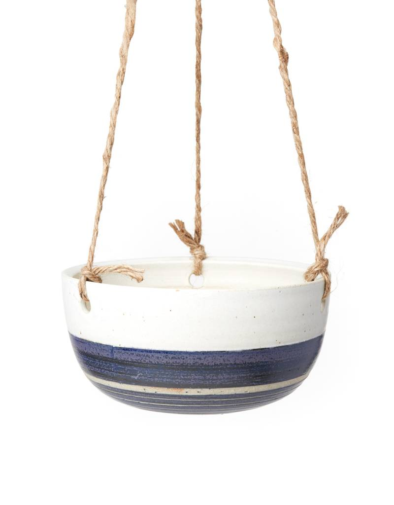 Veak Ceramics Blue + Clay Hanging Planter