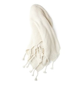 Zestt White Organic Cotton Knit Throw