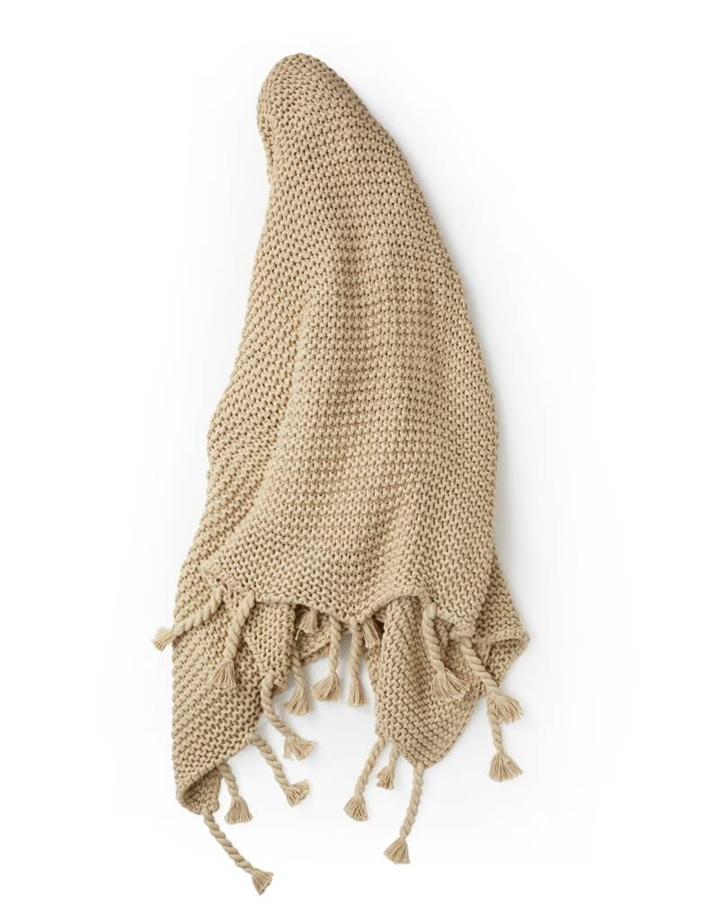 Zestt Tan Organic Cotton Knit Throw