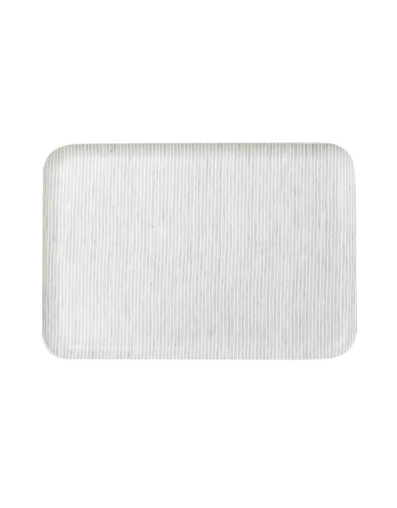 Fog Linen Gray White Stripe Linen Tray, Large