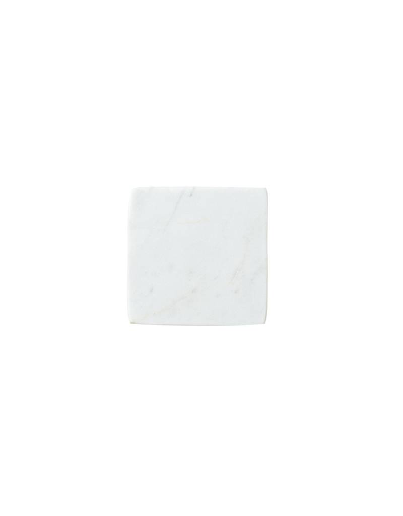 Be Home White Marble Square Coasters S/4