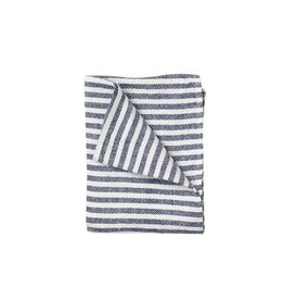 Fog Linen Navy Border Thick Linen Kitchen Towel