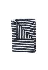 Fog Linen Chambray Kitchen Towel-Navy Stripe