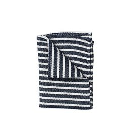 Fog Linen Chambray Kitchen Towel-Navy Stripe