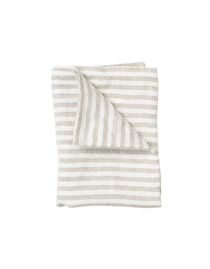 Fog Linen White Stripe Chambray Linen Kitchen Towel