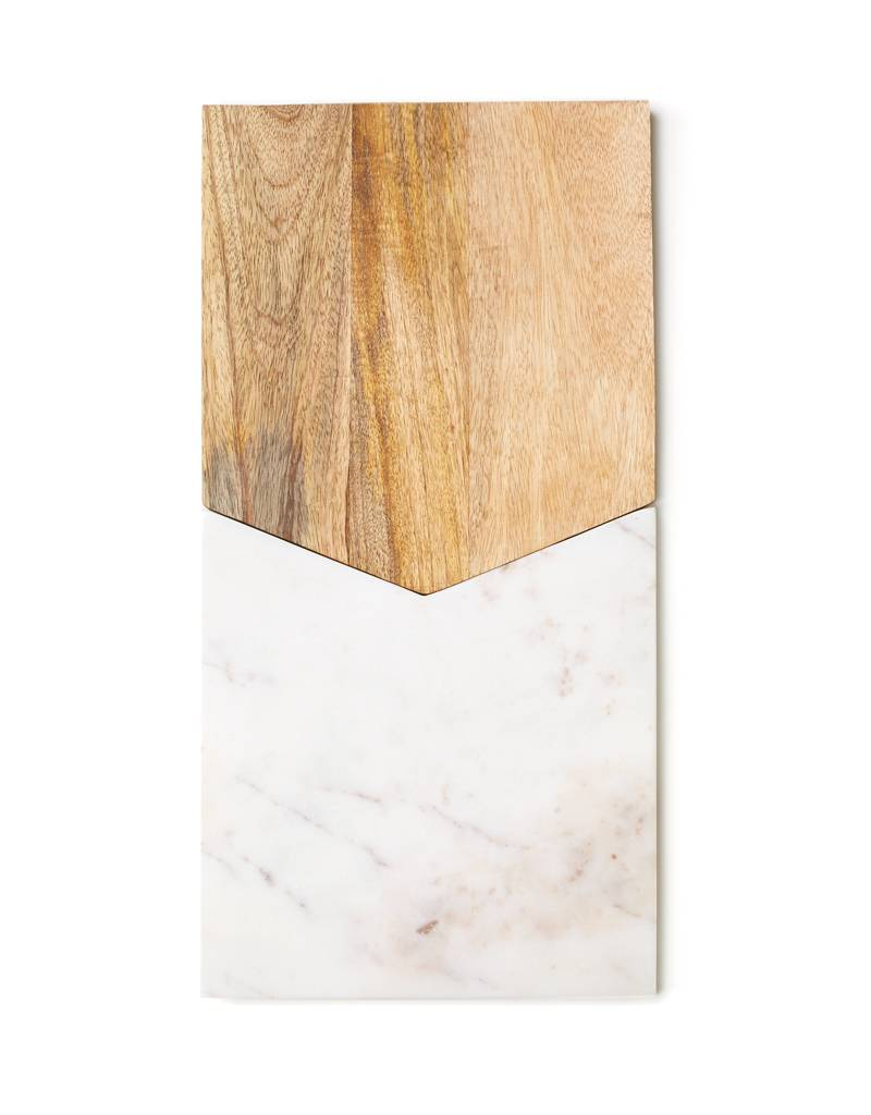 Be Home White Marble and Mango Wood Two Piece Board