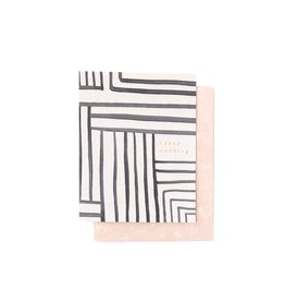 Moglea Happy Wedding Card B&W Stripe