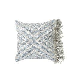 Wayil Recycled Denim Geo Fringe Pillow 18x18 B