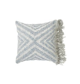 Wayil Recycled Denim Geo Fringe Pillow