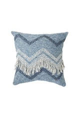 Wayil Recycled Denim Zig Zag Fringe Pillow