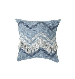 Wayil Recycled Denim Zig Zag Fringe Pillow