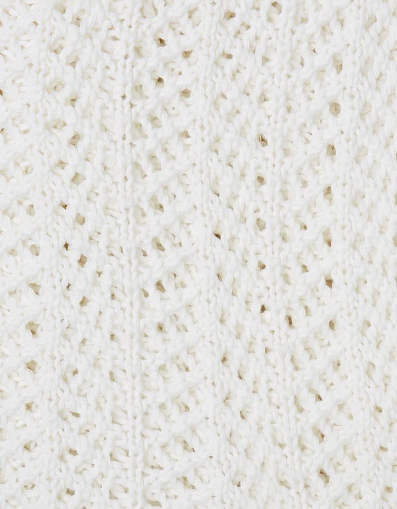 Zestt White Organic Boho Knit Throw