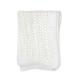 Zestt White Organic Boho Knit Throw