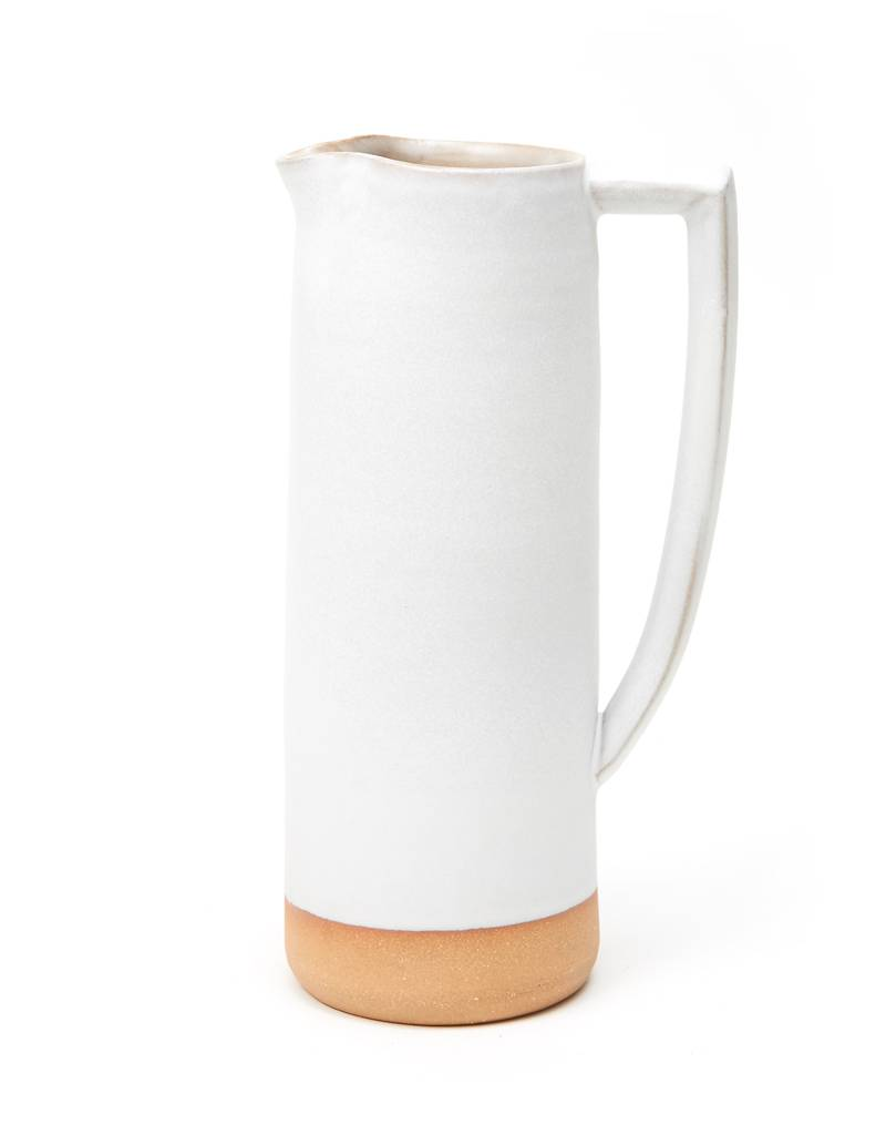 Shelter Collection White & Natural Ceramic Vase/Water Pitcher