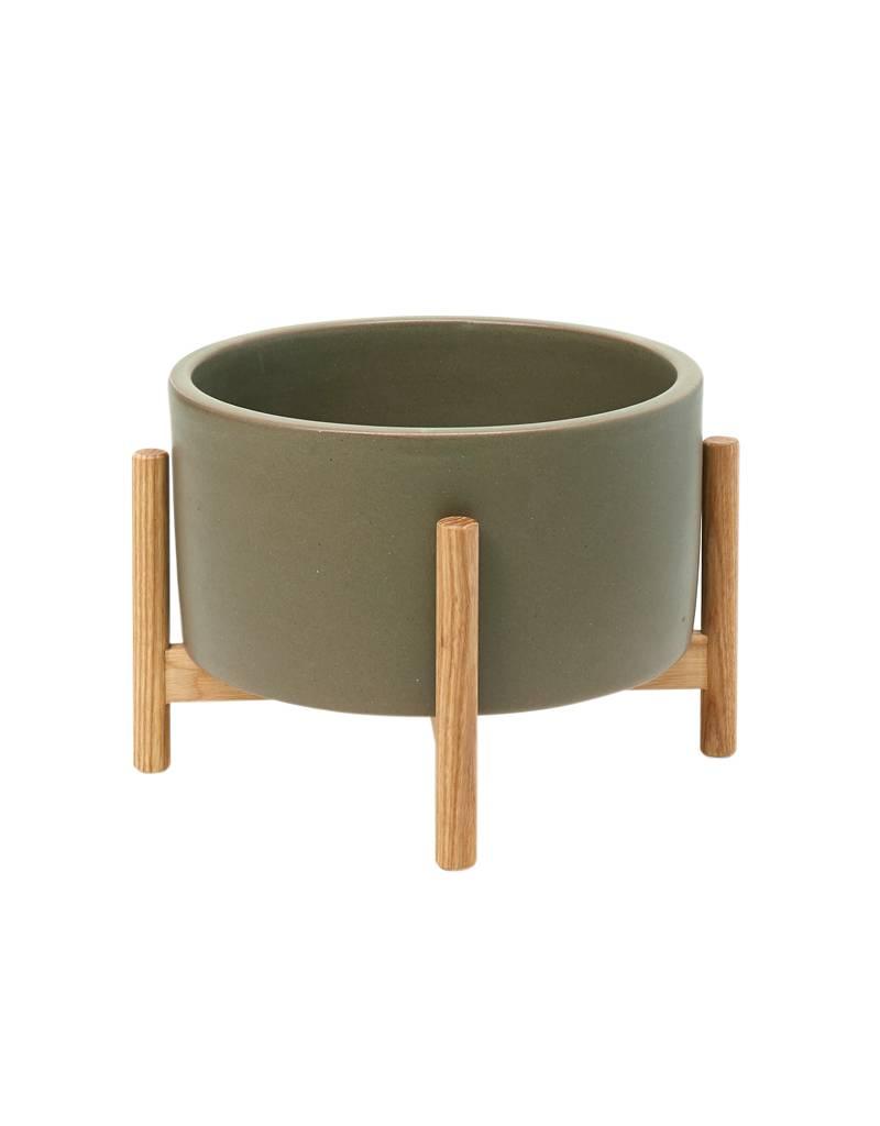 Modernica Table Top Planter w/ Ash Wood Stand Pebble