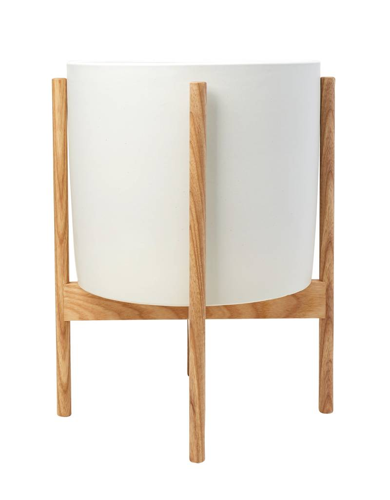 Modernica Large Planter w/ Ash Wood Stand White