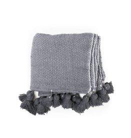 Gray Chevron Weave Pom Pom Blanket