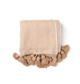 Camel Diamond Weave Pom Pom Blanket