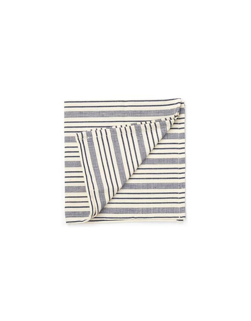 Tensira Handwoven Napkins S/4 Navy Blue Varied Stripes