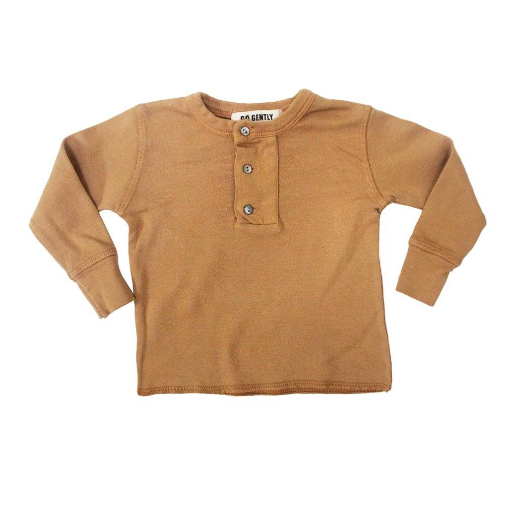 Go Gently Nation Wide Placket Henley- Flax