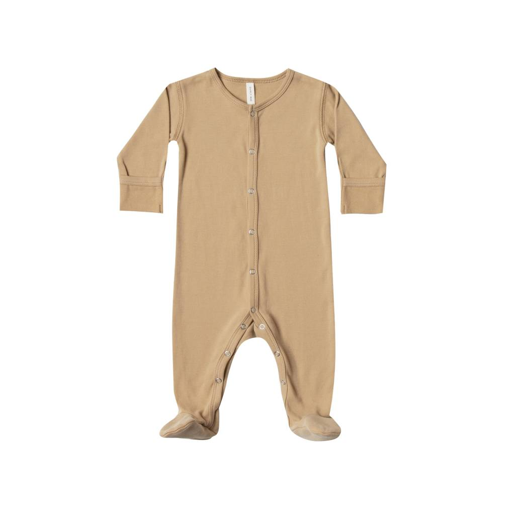 Quincy Mae Organic Brushed Jersey Full Snap Footie