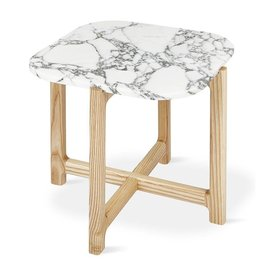 Gus Modern Quarry End Table -Bianca Marble