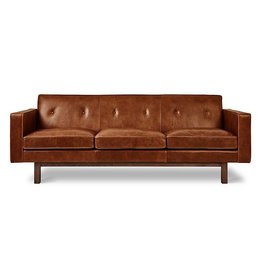Gus Modern Embassy Leather Sofa- Saddle Brown