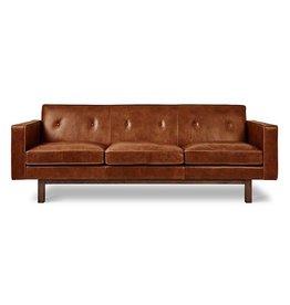 Gus Modern Embassy Leather Sofa- Saddle Brown