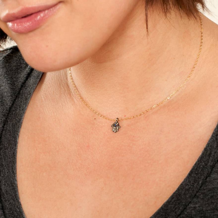 House of India Tiny Diamond Hamsa Necklace