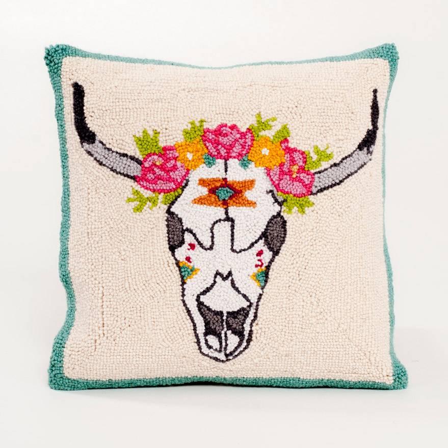 Peking Handicraft Pillow Floral Skull