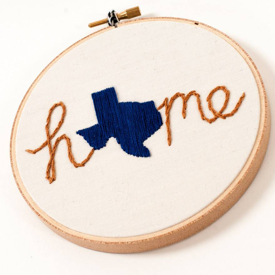 Mountains of Thread Texas Home Embroidered Hoop