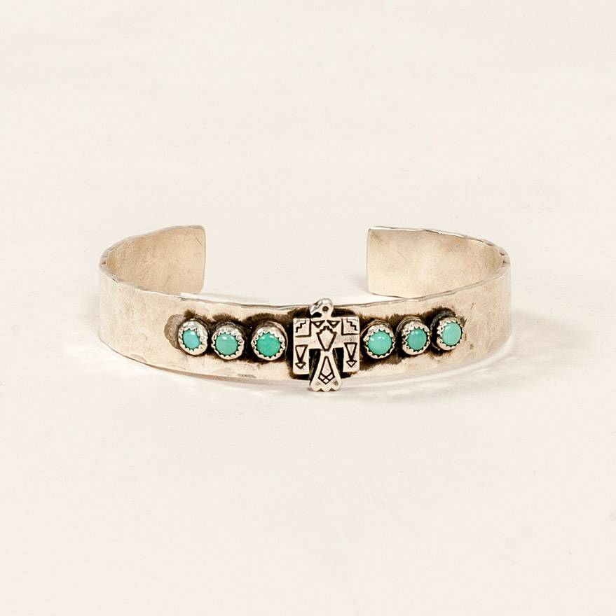 Richard Schmidt Thunderbird and Six Turquoise Cuff