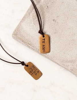 CLP Jewelry Dog Tag Leather Necklace