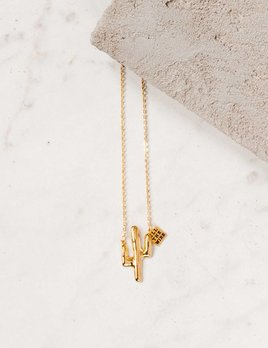 All The Wire Fav Gold Cactus Necklace