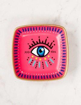 McDonald Mixed Media Pink Square Evil Eye Ring Dish