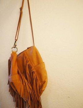 Cut n Paste Jade Fringe Bag Tan
