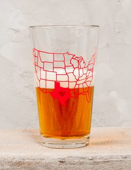 Counter Couture Texas State Map Pint Glass