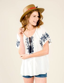 Show Me Your Mumu Show Me Your Mumu - Hayden Tunic Navy Embroidery