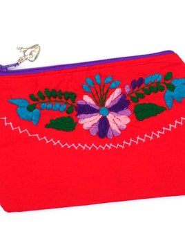 Bird and Pear Emb Mexican Dress Pouch
