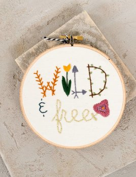 Mountains of Thread Wild and Free Embroidered Hoop