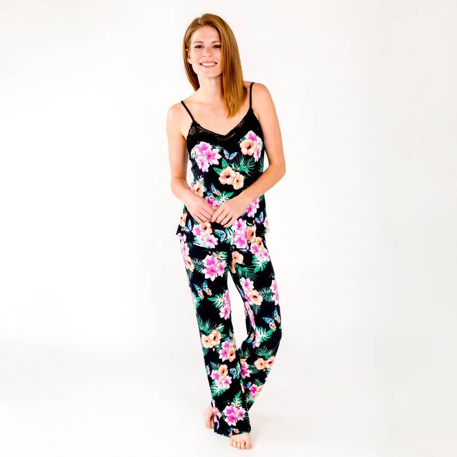 PJ Salvage Black Floral Pant