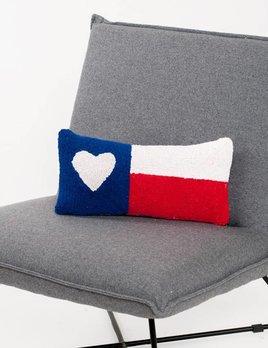 Peking Handicraft Texas Flag Heart Pillow