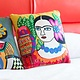 Karma Living Mujer Con Perico Y Flor Pillow