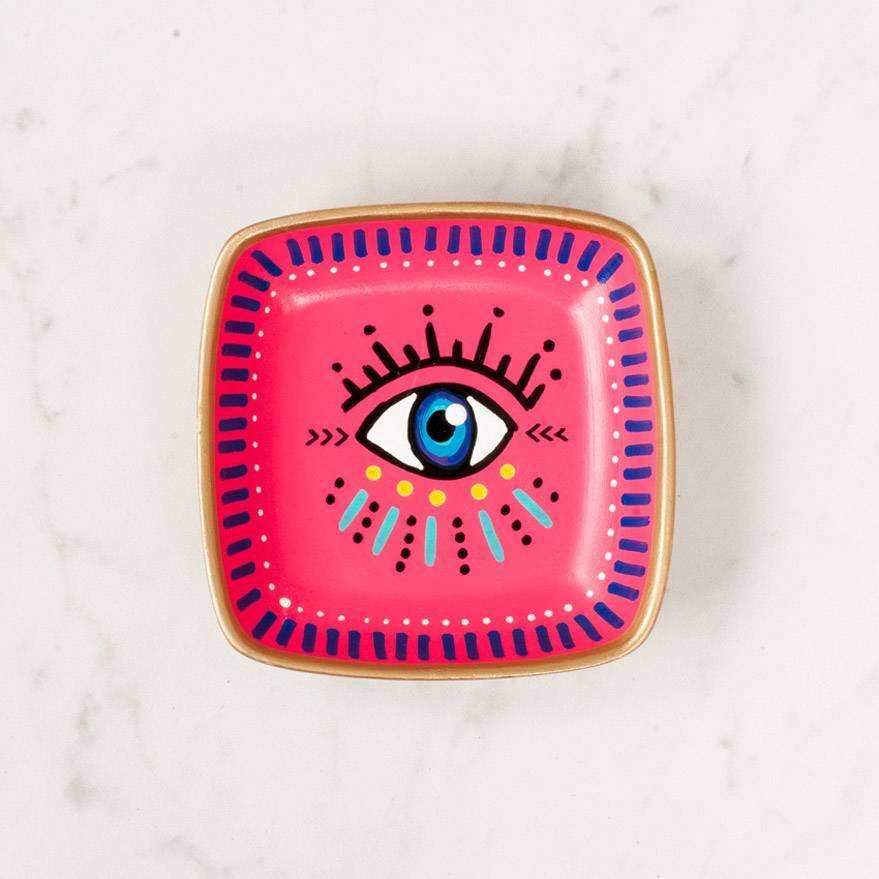 McDonald Mixed Media Evil Eye Ring Dish Pink