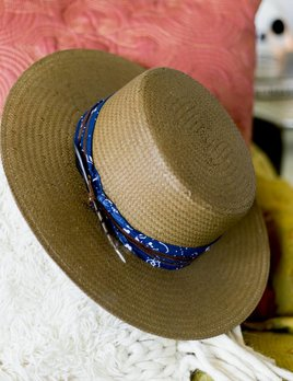 Lovely Bird Blue Bandana Straw Hat S