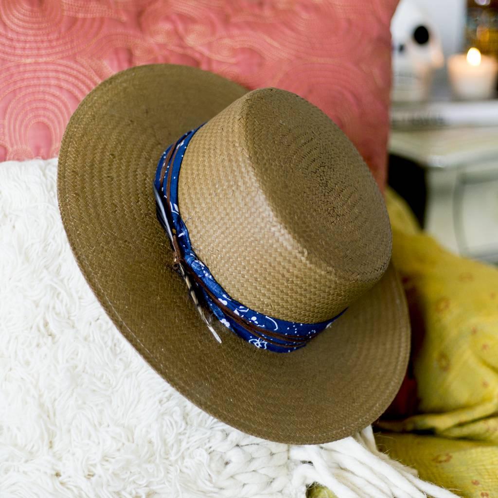 Lovely Bird Blue Bandana Straw Hat S