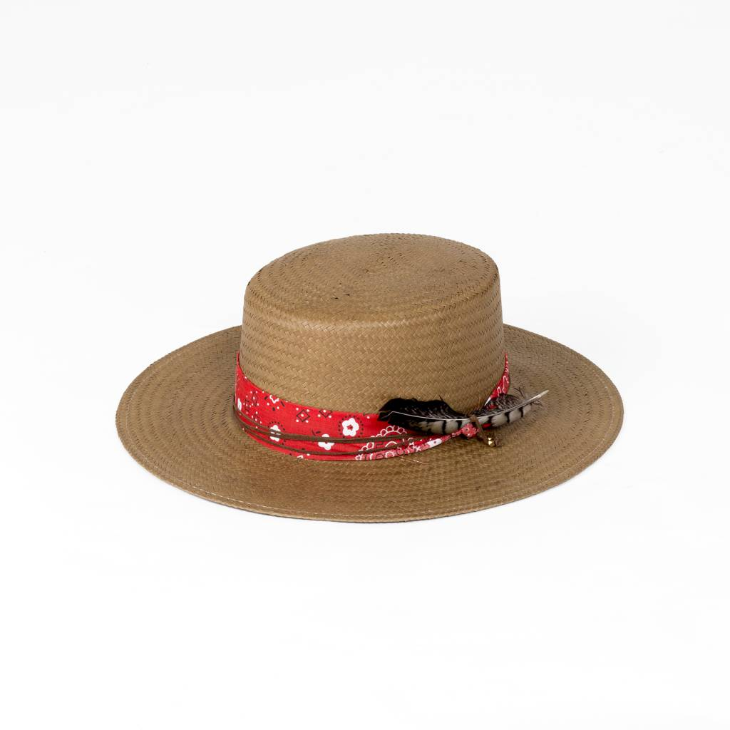 Lovely Bird Red Bandana Straw Hat M