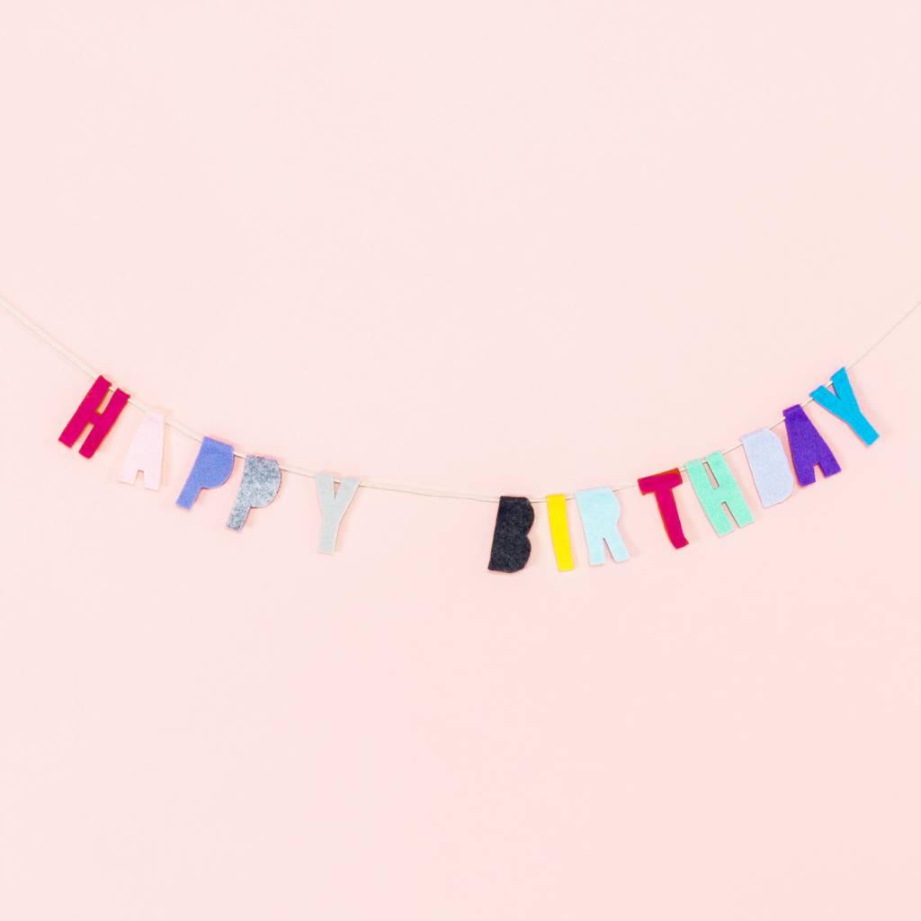 Tastefully Mismatched Happy Birthday Felt Banner