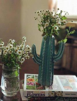 Creative Co Op Stoneware Cactus Vase