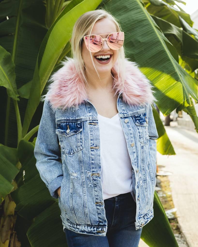 Honey Punch Pink Collared Denim Jacket